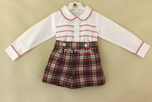 BABY BOYS SMOCKED SHIRT SHORTS SET RED WHITE GREEN TARTAN CHECK